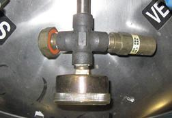 pressure gauge on a cryogenic liquid container