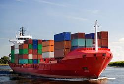 cargo-container-ship---freighter-navigating-river Distribution