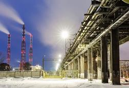 chemical industry at night russia