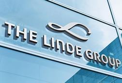 Linde logo on glass
