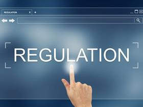 Compliance, hand press on regulation button on webpage