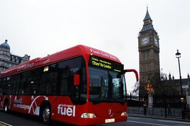 Fuel cell bus by houses of parliament