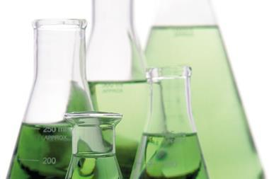 Green, Laboratory glass, conical Erlenmeyer, flasks, experiment, science research lab