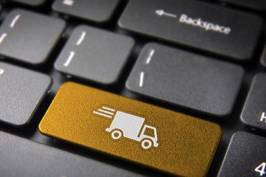 Transport delivery key with truck icon distribution