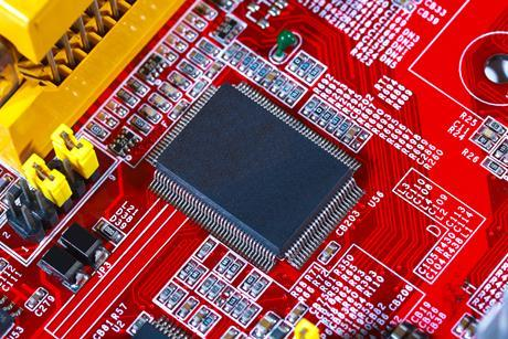 red circuit board electricity