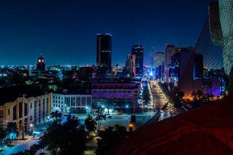 Mexico City skyline at night from top of the revolution monument_Web