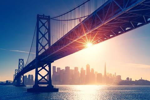 San Francisco skyline retro view. America spirit - California theme. USA background