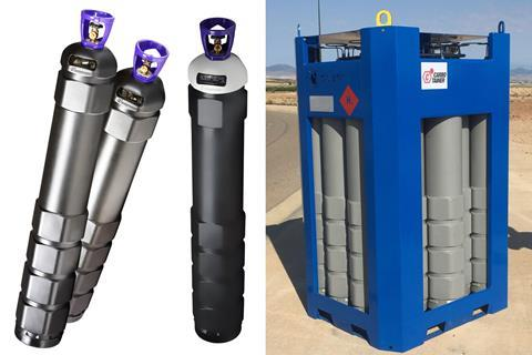 (L-R) The Carbotainer Smart Cylinder, the B13 carbon cylinder and the composite bundles