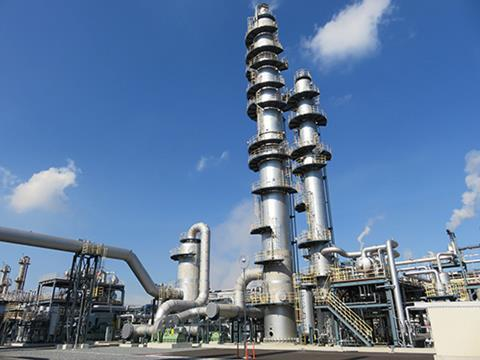 CO2 capture unit at Nippon Ekitan's Mizushima plant