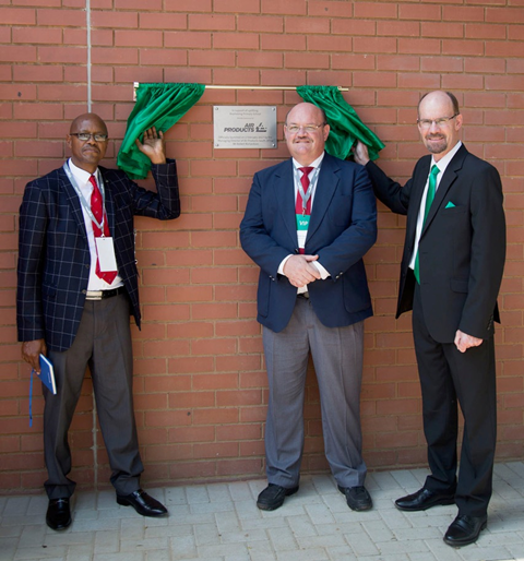 Mr Sebeho (Department of Education), Mr Smit (Bophelong Primary School) and Mr Richardson (Air Products) at the unveiling of the school hall at Bophelong Primary School today.