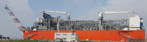 Production of LNG on board the Exmar Caribbean in Nantong, China