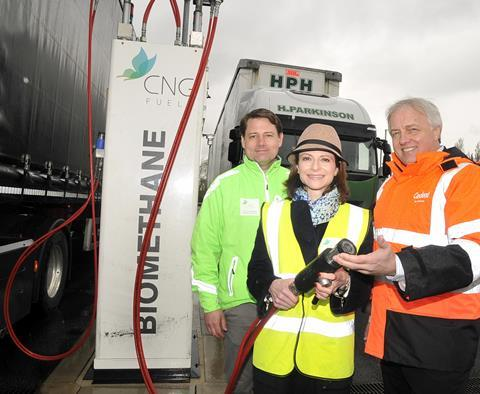 hilip Fjeld, Founder and CEO of CNG Fuels; Seema Kennedy, MP of South Ribble; and, David Jones, transport strategy manager at Cadent in front of a H Parkinson Lorry.