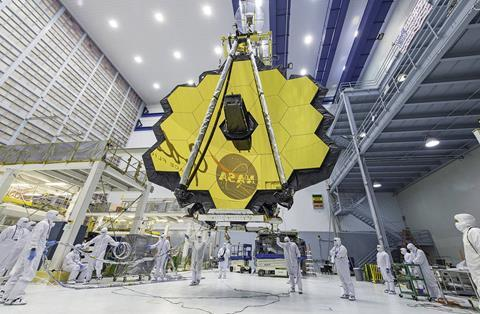 webb space telescope mirror seen in full bloom