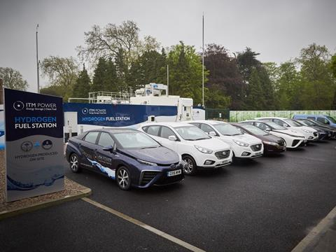 Itm power boc first h2 hydrogen station in london fuel cell cars