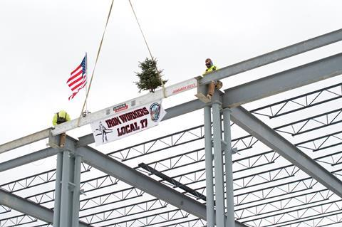 The final beam placed on Lincoln Electric's new Welding Training Centre