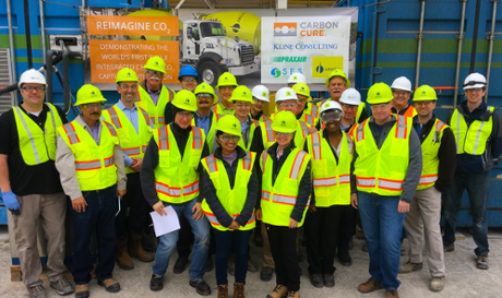 Team members from CarbonCure, Praxair, Argos, SES, and Kline Consulting welcome guests on-site at the demonstration site in Calera, Alabama on January 22, 2018.