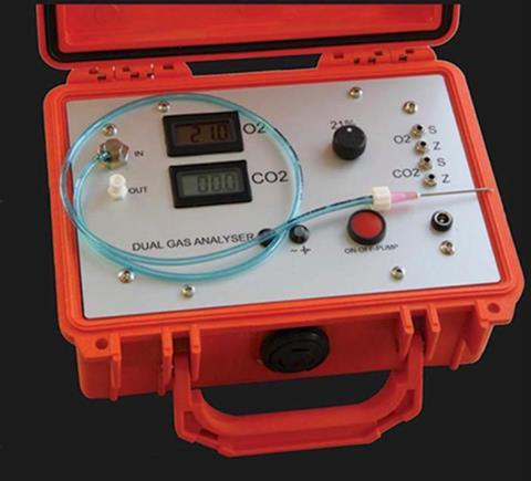 The SCS 354 Dual Gas Analyser measures CO2 levels from 0-20% and O2 from 0-25%
