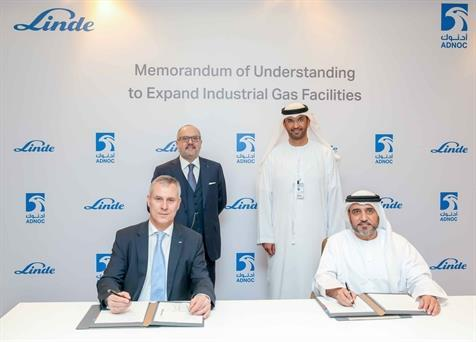 The agreement was signed by Abdulaziz Alhajri, Downstream Director ADNOC, and Bernd Eulitz, Member of the Executive Board of Linde, in the presence of Dr Sultan Ahmed Al Jaber, UAE Minister of State and ADNOC Group CEO and Prof Dr Aldo Belloni, CEO of The Linde Group, on the sidelines of the Abu Dhabi Petroleum Exhibition and Conference (ADIPEC).