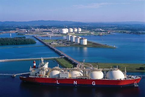 Lng vessel at import terminal