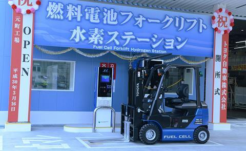 Hydrogen station and fuel cell forklifts at the Motomachi Plant