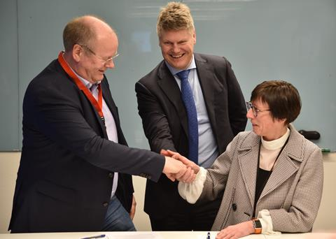 (L-R) CEO and Founder of Arundo Analytics Tor Jakob Ramsøy, Global Head, Oil, Gas and Chemicals for ABB Per Erik Holsten, and Vice-President, Oil, Gas and Chemicals for ABB Norway Borghild Lunde,shake hands after signing an MOU for collaboration on advanced analytics on Monday March 19, 2018. ABB and Arundo collaborated to develop the first cloud-based virtual multiphase flow meter for the oil & gas industry.
