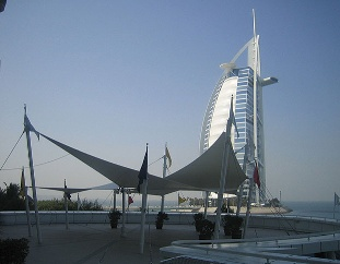 The scene from the Sun Deck at the Jumeirah Beach Hotel.
