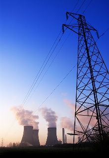 Electricity pilons with power station